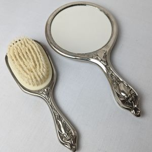 Vintage brush and mirror, stainless steel silver